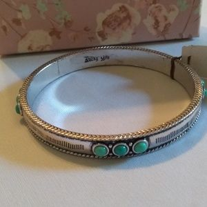 Lucky Brand Silver Tone Turquoise Color Bangle